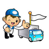 Blue Delivery Man mascot Toward the truck convoy. Product and Di Stock Images
