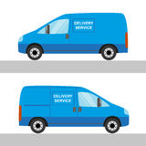 Blue Delivery Van Isolated View From Two Sides Stock Photography