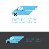 Blue delivery van logo Royalty Free Stock Images