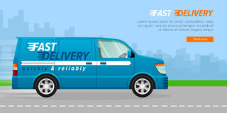 Blue Delivery Van on the Road in City. Fast Truck. Royalty Free Stock Images
