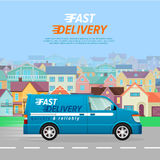Blue Delivery Van on the Road in City. Fast Truck. Stock Photo