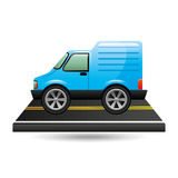 Blue delivery van on road Stock Images