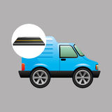 Blue delivery van on road Royalty Free Stock Image