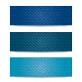 Blue Demin Banner Set Stock Photos