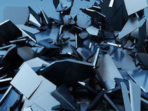 Blue demolition cracked surface chaotic background Royalty Free Stock Photos