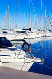 Blue Denia marina port in Alicante Spain Royalty Free Stock Photo
