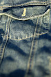 Blue denim. Unbuttoned jeans pocket Stock Photography