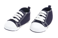 Blue denim baby shoes Royalty Free Stock Photo