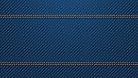 Blue denim background 04. Illustration of blue color denim texture background with two horizontal seams Stock Photo