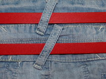 Blue denim with belt Royalty Free Stock Images