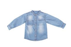 Blue Denim Child Shirt. Close up front view of blue denim child long sleeve shirt with crew neck, isolated on white background royalty free stock photos