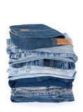 Blue denim clothes and bag Royalty Free Stock Photo