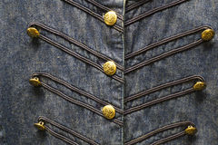 Blue Denim Cowgirl Shirt with Gold Buttons Stock Image