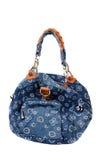 Blue denim handbag. On white background Royalty Free Stock Image
