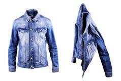 Blue denim jacket, isolate on a white background Royalty Free Stock Photography