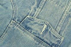 Blue Denim Jacket with Pocket, Detail, horizontal Stock Photography