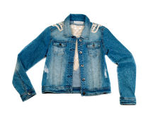 Blue denim jacket on a white background Royalty Free Stock Photo