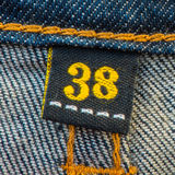 Blue Denim Jean and Yellow Seam Texture background Stock Photo
