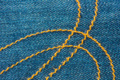 Blue Denim Jean and Yellow Seam Texture background Royalty Free Stock Photo