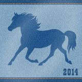 Blue denim jeans horse. Royalty Free Stock Images