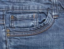 Blue denim jeans pocket close up Royalty Free Stock Photo