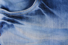 Blue denim jeans  pocket  texture Royalty Free Stock Images