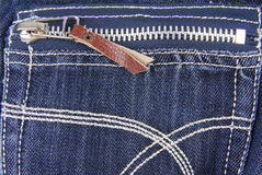 Blue denim jeans  pocket  with zip Royalty Free Stock Photos