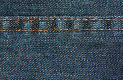 Blue denim jeans texture with seam, background Stock Images