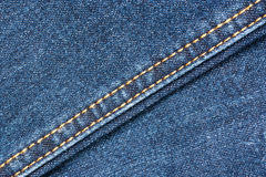 Blue Denim Jeans Texture With Seams. Close Up Details Stock Images