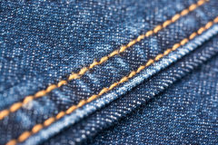 Blue Denim Jeans Texture With Seams Stock Photo