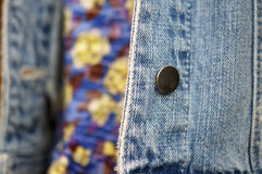 Blue denim material on jacket Stock Photo