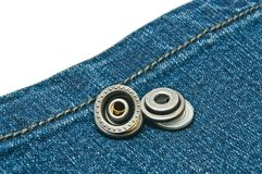 Blue denim with metal buttons Royalty Free Stock Photos