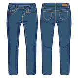 Blue denim pants. Front and back views of pants for further product development Stock Photography