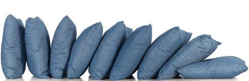 Blue denim pillows Royalty Free Stock Image