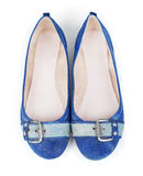 Blue denim shoes. On isolated white background Stock Image