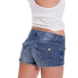 Blue denim shorts Stock Photos