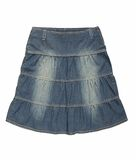 Blue denim skirt Royalty Free Stock Photo