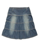 Blue denim skirt royalty free stock photography