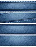 Blue denim texture headers Stock Photography