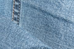 Blue denim texture with a stitch on the left. Abstrack background Royalty Free Stock Photos