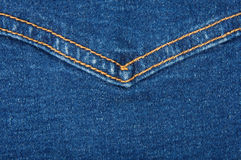 Blue denim texture with yellow stitch Royalty Free Stock Photography
