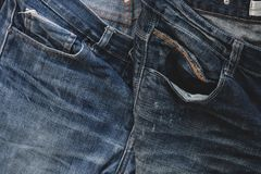 Blue denim of trousers. Royalty Free Stock Images