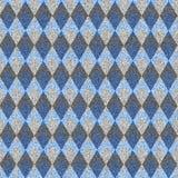 Blue denim with white seamless argyle pattern. Stock Photo