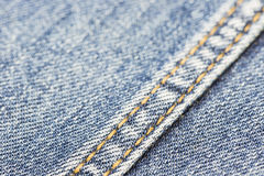Blue denim with yellow stitching Stock Image