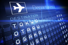 Blue departures board for major asian cities Stock Photo