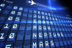 Blue departures board for space travel Stock Photos