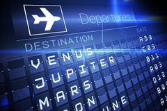 Blue departures board for space travel Royalty Free Stock Photos