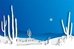 Blue Desert Sky. A single star shining in the sky of a white silhouetted desert scene royalty free illustration