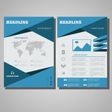 Blue design Brochure Flyer design Layout template, size A4. Front page and back page  eps 10  illustration Stock Images