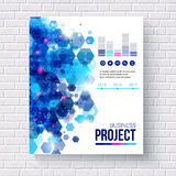 Blue design Business Report with charts Royalty Free Stock Images